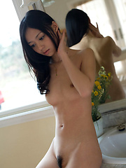 Adorable gravure idol beauty with naked plump tits in lingerie