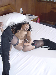 Sexy tanned thai chick in black stockings like suck cock