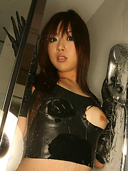 Adorable gravure idol shows off her perky naked tits and body