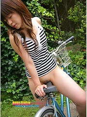 Japanese model Aki Kawasaki outdoor posing