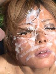 Huge facial bukkake for asian babe