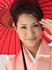 Akira Ichinose in kimono gets fucked hard