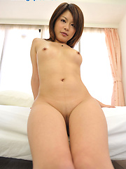 Alone japanese cutie Tomoko Naoe showing her smooth pussy