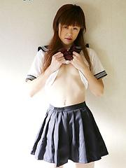 Innocent asian teen girl in glasses Rin Kitagawa