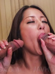 Satomi Suzuki sucks tools and has cum pouring from hairy cooter