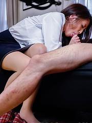Aoi Miyama Asian has firm cans licked and sucks dong and balls