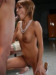 Shaved Hina Ootsuka sucks and swallows cum