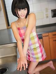 Short-haired Tokyo girlTomomi Kai has small tits
