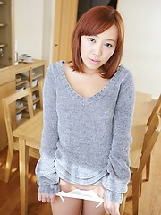 Redhead asian cutie Mika Hayase demonstrates shaved hole