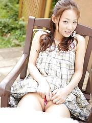 Asian cutie Rei Matoba posing outdoor