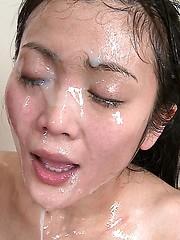 Asian men loads cum on innocent girl face