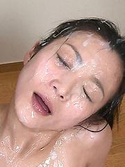 Massive bukkake on japanese face