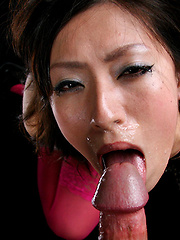 Asian girl in sexy pink stockings in deepthroat scene