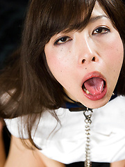 Japanese chick opens mouth for deepthroat
