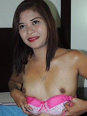 Shy Filipina reveals thick bush before getting poked hard