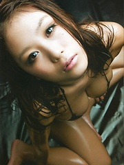 Asian idol Mai Nishida posing her breasts