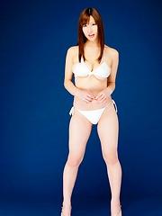Slim and busty japanese Marina Yamasaki in white bikini