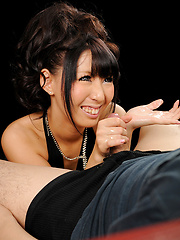 Japanese babe Oguri Miku doing handjob