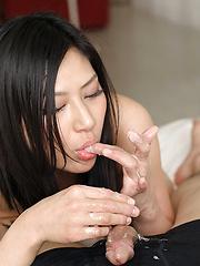 Japanese brunette Asai Chihiro handjob pics