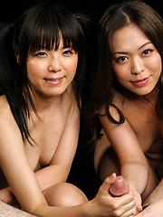 Two japanese sluts Sakura Sena and Asakura Mint services one cock