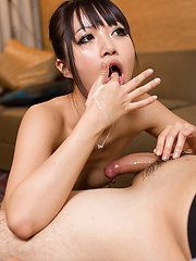 Small-titted japanese slut Asakura Kotomi playing with cock