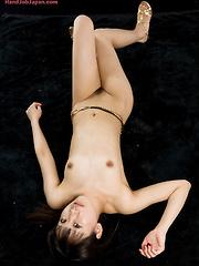 Big-eyed japanes girl Oshima Karina masturbates cock