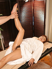 Masseur playing with japanese woman