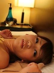 Cameraman massages wet japanese pussy