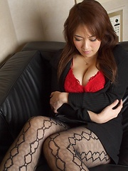 Busty Asian posing in red lingerie