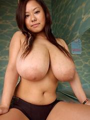 Monster boobs japanese porn star Fuko posing in sexy lingerie
