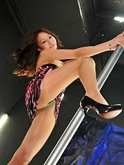 Yuri Aine pussy play near strip pole
