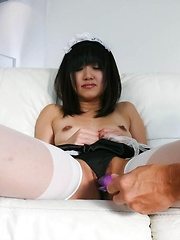 Kotomi Asakura Asian house keeper gets vibrator on tits and twat