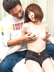 Ibuki Asian chick has clit under vibrator and licks hard phallus