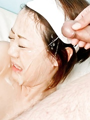 Rina Yuuki Asian is teased with vibrator and gets cum on face