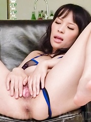 Kyouko Maki Asian has dildos and vibrators fucking her fish taco