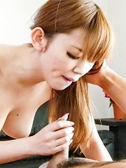 Megu Kamijyou Asian sucks and strokes boner and is fingered