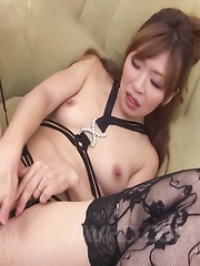 Koda Riri Asian in stockings rubs her clit in diverse positions