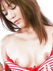 Nagisa Aiba Asian in red lingerie gets vibrator on hairy beaver