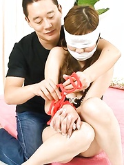 Bound and blindfolded Hinano sucks a hard cock