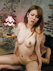 Raunchy Japanese Rei is filled with a cock and dick cream