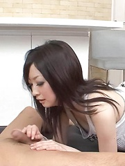 Asuka Mimi Asian licks boner and sticks it in wet cum dumpster