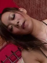 Ren Mizumori Asian licks penis head and rubs it with fine boobs