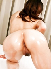 Ryo Sasaki Asian is fondled all over with oil and gets vibrator