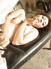 Maki Hojo Asian has to rub her hairy and willing pussy over lace