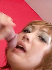 Yuki Mizuho Asian with cunt wet from vibrator takes cock to suck