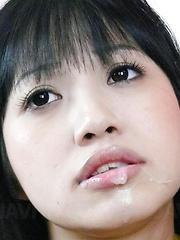 Kotomi Asakura Asian has cum on lips from sucking hard penises