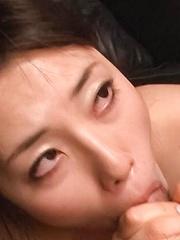 Azusa Nagasawa Asian puts vibrator on clit and licks two tools