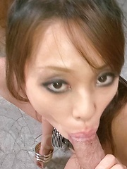 Asuka Asian chick shakes big boobs while is fucked after blowjob