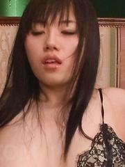Azusa Nagasawa Asian busty gets cum on face and vibrator on clit