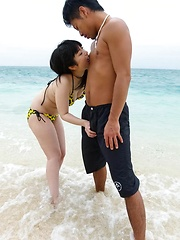 Hina Maeda Asian is fucked in mouth and has cunt rubbed at sea